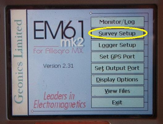 EM61-MK2A Survey Setup