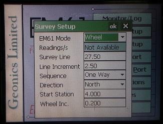 Survey Setup EM61 Mode