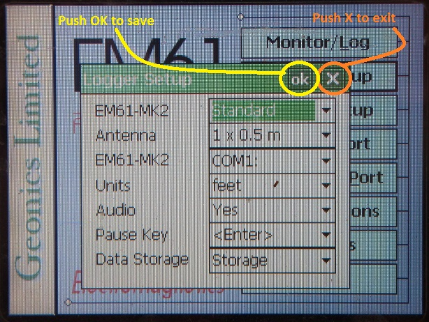 EM61-MK2A Logger Setup Save and Exit