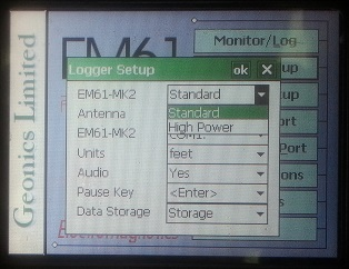 EM61-MK2 Logger Instrument Setting