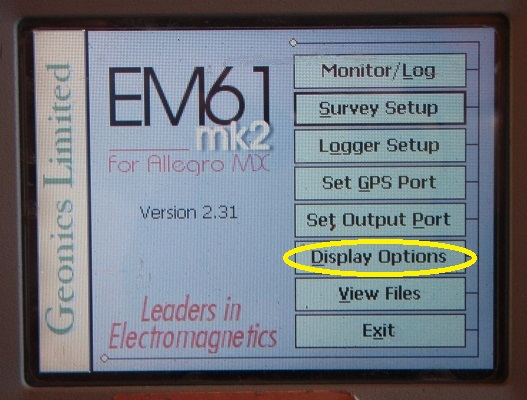 EM61-MK2A Display Options Menu