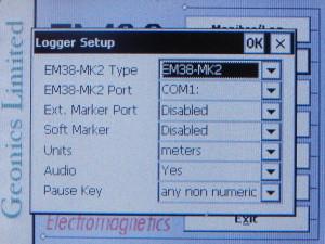 EM38MK2 Logger Setup