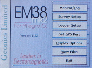 EM38MK2 Software Main Menu Convert to UTM